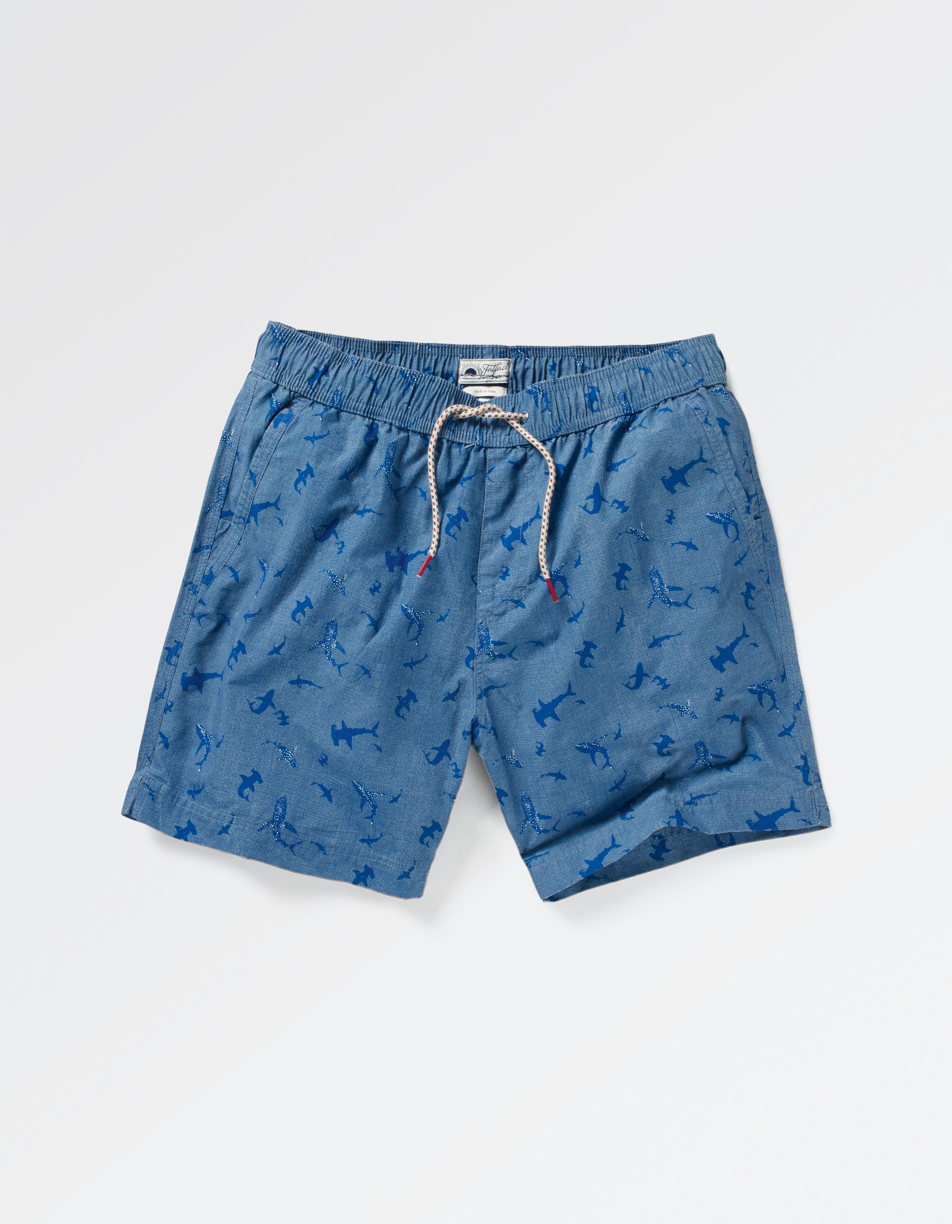 fat face fistral shark print swim shorts