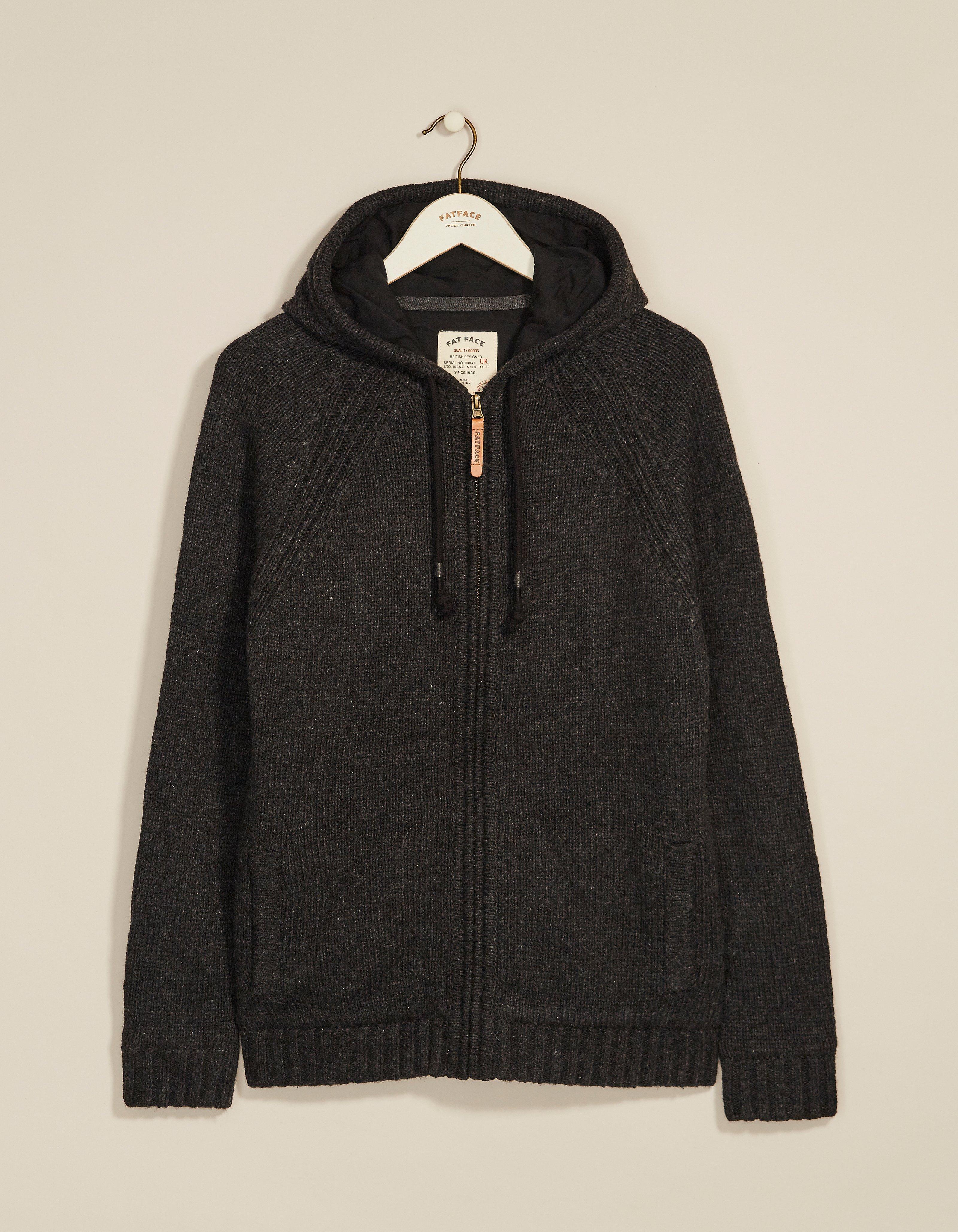 fat face brodick knitted zip thru hoody