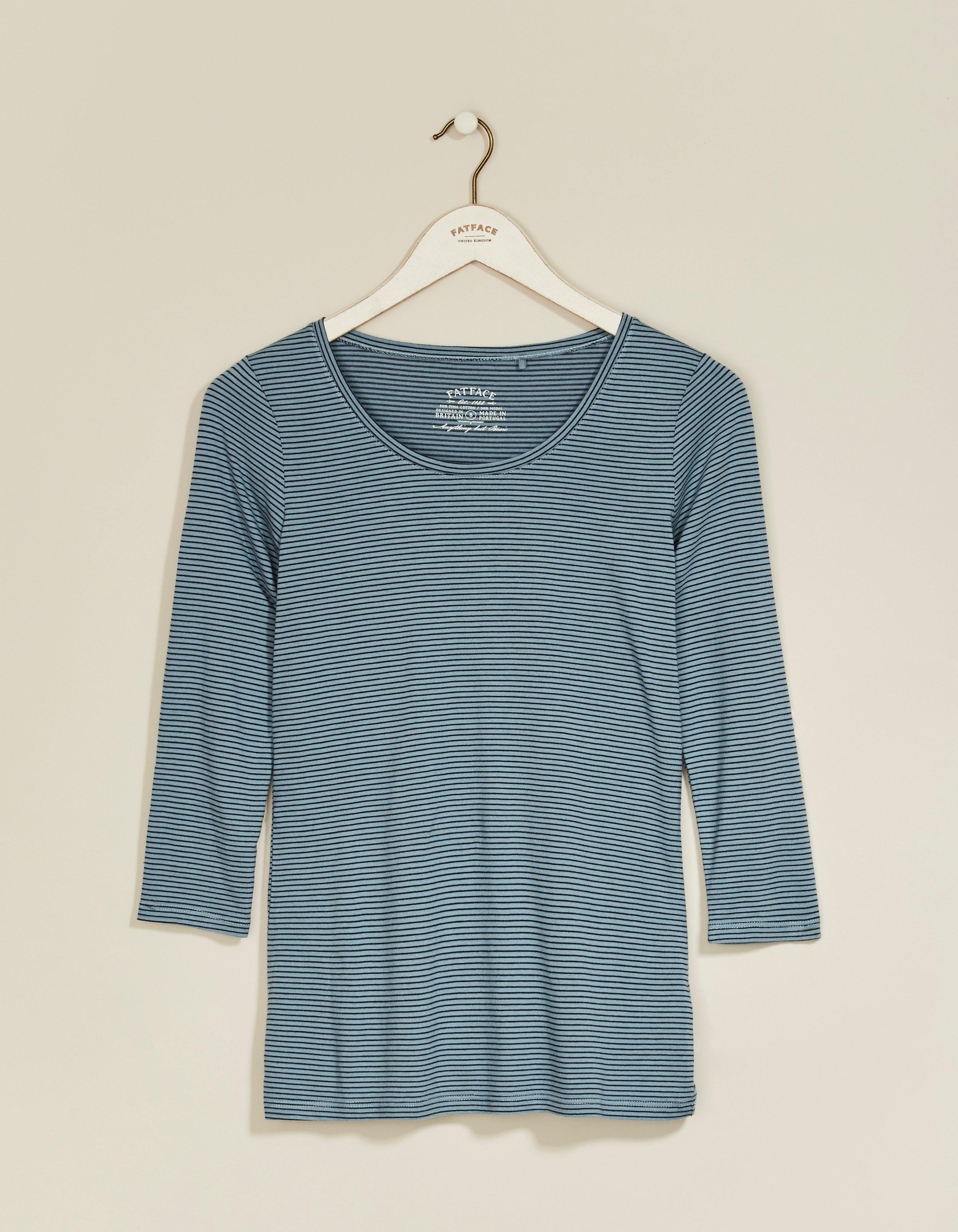 fat face laura 3/4 sleeve stripe t-shirt