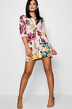 5ac70661f31 Plus Gold Twist Front Silky Shirt Dress