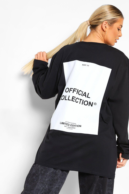 Womens Langärmliges T-Shirt In Übergröße Mit Blumen-Print Hinten - Schwarz - M, Schwarz