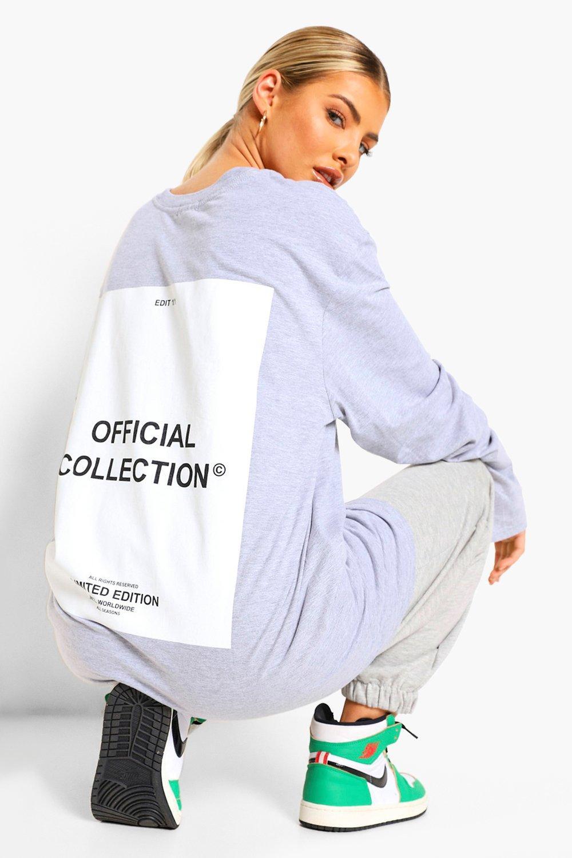 Womens Langärmliges T-Shirt In Übergröße Mit Blumen-Print Hinten - Grau Meliert - Xs, Grau Meliert