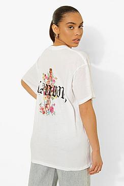 L'amour Cherub Floral Slogan T-Shirt