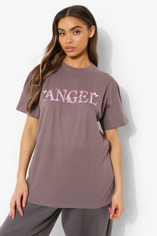 Womens Übergroßes T-Shirt Mit Blumen- Und Engels-Print - Anthrazit - S, Anthrazit