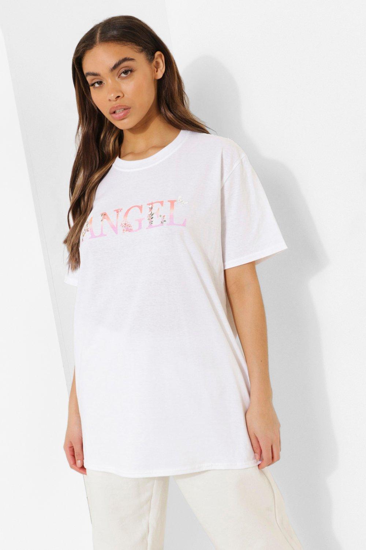 Womens Übergroßes T-Shirt Mit Blumen- Und Engels-Print - Weiß - S, Weiß