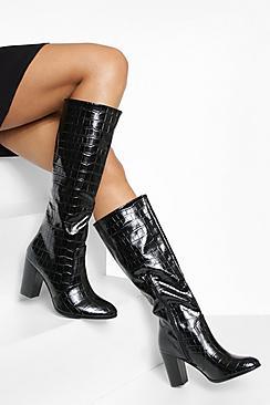 Block Heel Croc Knee High Boots