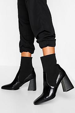 Croc Block Heel Knitted Panel Sock Boots