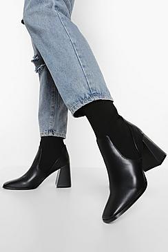 Block Heel Knitted Panel Sock Boots