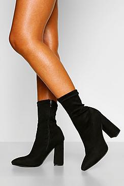 Block Heel Pointed Toe Sock Boots
