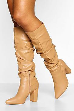 Slouched Block Heel Knee High Boots