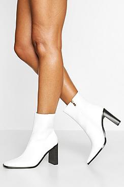 Square Toe Block Heel Sock Boots