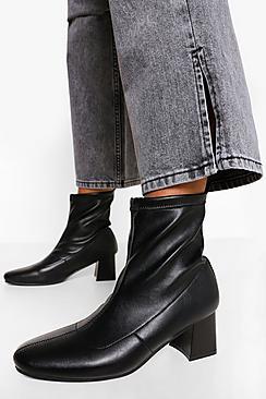 Loop Back Block Heel Sock Boots