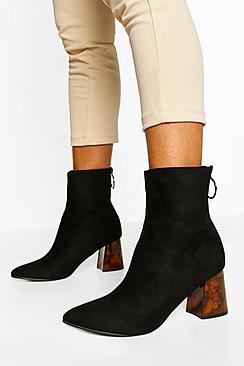 Block Heel Zip Back Sock Boots