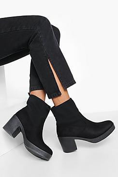 Block Heel Chunky Sock Boots