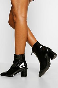 Wide Fit Zip Front Low Block Heel Sock Boots