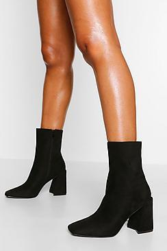 Flare Heel Square Toe Sock Boot