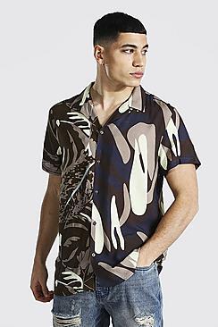 Short Sleeve Revere Spliced Floral Viscose Shirt