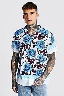 Short Sleeve Revere Oversized Floral Shirt