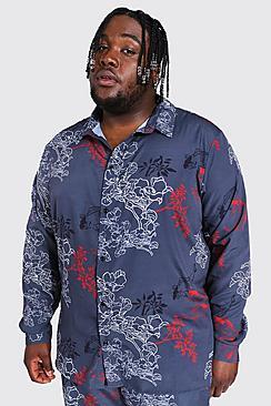 Plus Size Floral Print Long Sleeve Shirt