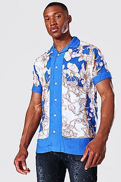 Short Sleeve Floral Border Print Revere Shirt
