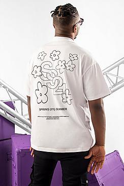 Oversized Floral Back Print Tshirt