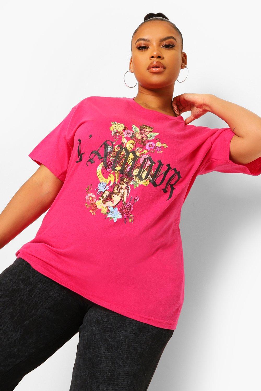 Womens Plus T-Shirt Mit L'amour-Slogan Und Engels-Blumen-Motiv Hinten - Rosa - 48, Rosa