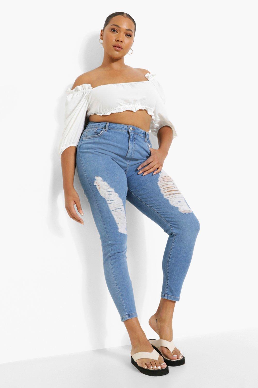 """""""plus"""" - jean skinny taille haute effet usé sur la cuisse - bleu jean - 44, bleu jean"""