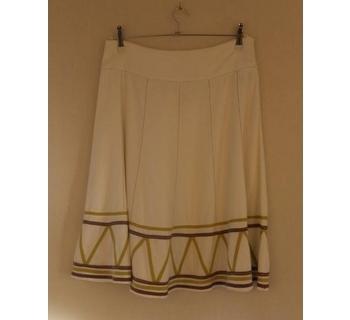 John Lewis Flared Skirt W/Zig Zag Detail White Size: 12