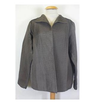 eileen fisher silk tiered jacket brown size: m