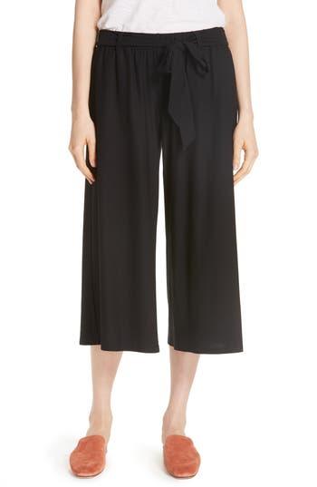petite women's eileen fisher wide leg crop knit pants, size petite p - black
