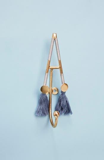 anthropologie fringe monogram hook, size one size - blue
