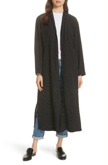 petite women's eileen fisher belted long kimono jacket, size large p - black