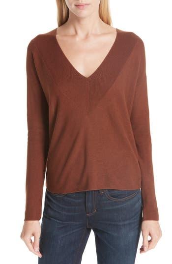 women's eileen fisher boxy tencel lyocell & silk sweater, size large - brown