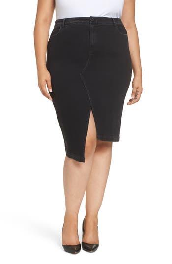 women's ashley graham x marina rinaldi canoa asymmetrical denim skirt