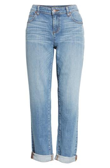petite women's eileen fisher organic cotton boyfriend jeans, size 16p - blue