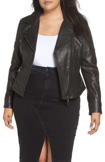 plus size women's ashley graham x marina rinaldi ebe leather biker jacket, size 4 - black