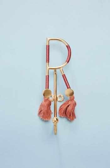 anthropologie fringe monogram hook, size one size - burgundy