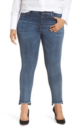 plus size women's ashley graham x marina rinaldii idruro slim leg raw hem jeans