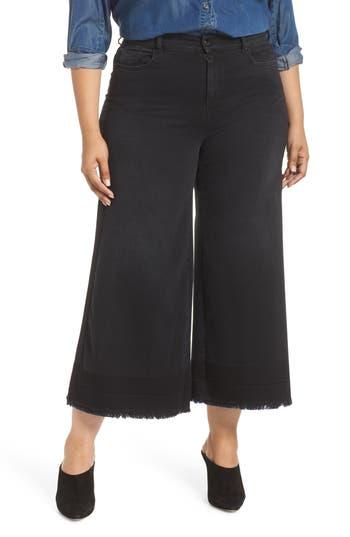 plus size women's ashley graham x marina rinaldi igloo crop flare jeans, size 14w - black