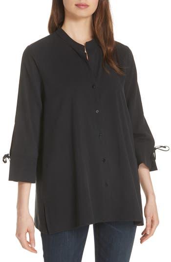 women's eileen fisher tie sleeve silk shirt