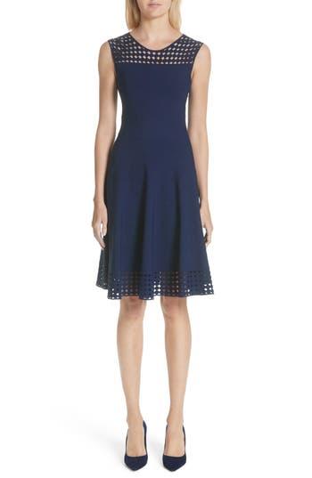 Women's Akris Punto Eyelet Fit & Flare Dress, Size 6 - Blue