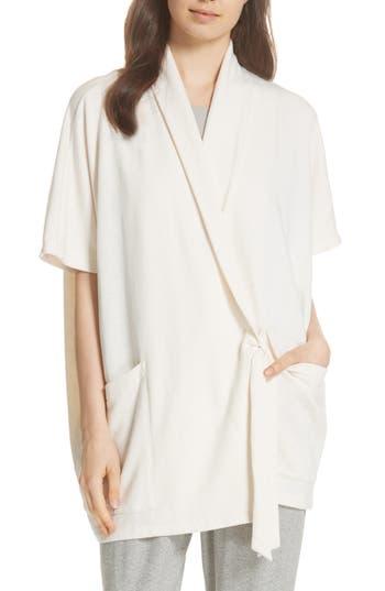 petite women's eileen fisher organic cotton blend kimono jacket, size medium/large p - ivory