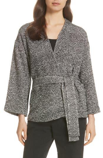 petite women's eileen fisher cotton tweed kimono jacket, size large p - black