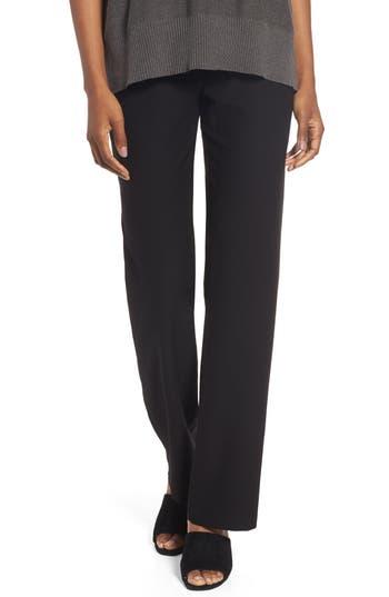 women's eileen fisher straight leg pants, size medium - black