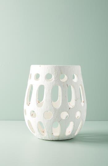 anthropologie hand carved ceramic hurricane candleholder, size large - white