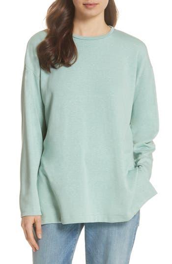 petite women's eileen fisher organic cotton blend top, size large p - blue/green