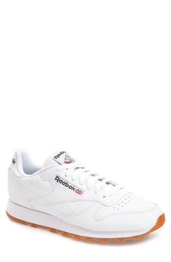 men's reebok classic leather sneaker, size 11 m - white