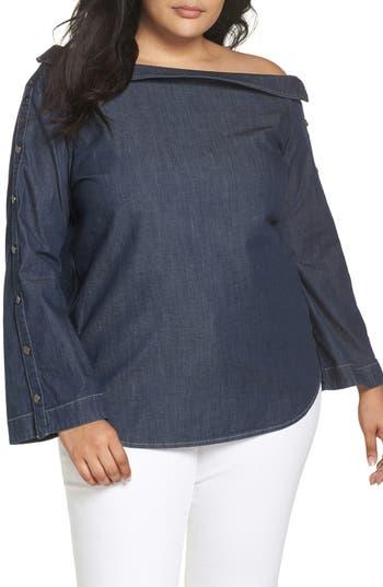 plus size women's ashley graham x marina rinaldi banchisa off-shoulder top, size 6 - blue