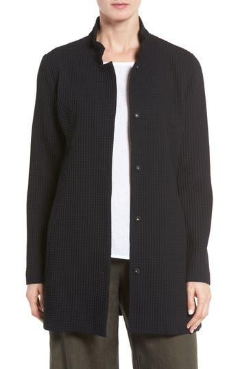 women's eileen fisher grid stretch cotton & tencel blend jacket, size xx-small - black