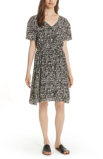 petite women's eileen fisher print silk a-line dress, size large p - beige